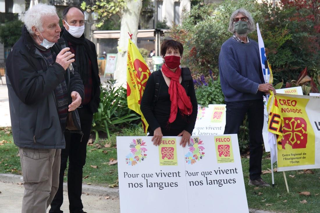 Miquèl Taiac a la protèsta Pour Que Vivent Nos Langues 10/10/2020